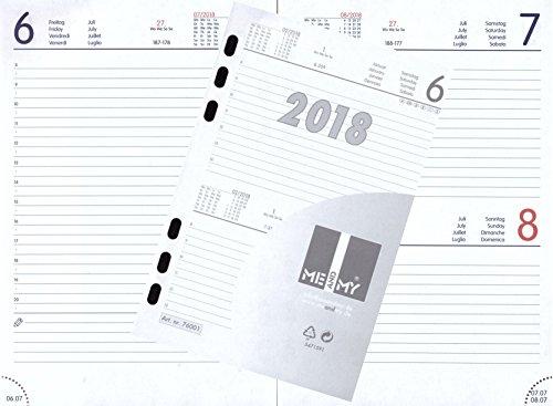 Kalendereinlage TAGES-Kalender 2018 DIN A5 für Timer Terminer Zeitplaner 1 Tag = 1 Seite 76001