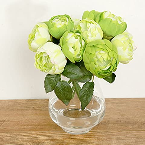Butterme 1 Bunch of 6 Heads Artificial Peony Silk Flower Bouquet for Home Office Wedding Party Decorations (Green)