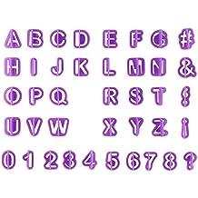 Sunnyday Nueva 1Ponga 40Pcs púrpura Número Letra del Alfabeto de Pasta de azúcar Que adorna el