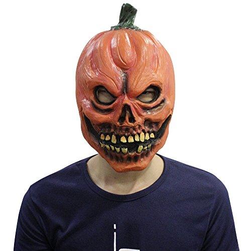 Cusfull Neuheit Latex Kürbis Maske Kopfmaske Kostüm Zubehör für Halloween Fasching Karneval Party (Masken Kürbis Halloween)
