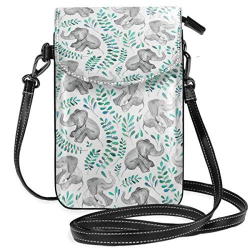 Suminla-Home Bolso bandolera para teléfono móvil, diseño de elefantes, color verde esmeralda...