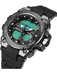 BINZI Analogue-Digital Black Dial Men's Watch Watches For Boys Men Waterproof Sport Digital WristWatch (Gray)