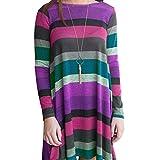 Kanpola Damen Damen Nachthemden Frauen Langarm Striped Printed Casual Swing Tunika Lose Kleid Nachtwäsche Nachthemden (XL/42, Violett)