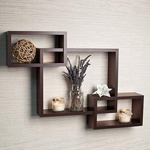 DRIFTINGWOOD MDF Intersecting Wall Mounted Shelf For Living Room Home Decor Floating Shelves - Set of 3, Brown
