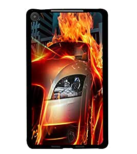 PrintDhaba Burning Car D-2044 Back Case Cover for ASUS GOOGLE NEXUS 7 2013 (Multi-Coloured)