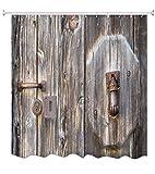 A.Monamour Retro Alte Grunge Holz Textur Ländliche Scheune Garagentor 3D Drucken Umweltfreundliche Wasserdichte Polyester Stoff Duschvorhang Für Bad Dekoration 150X180 cm / 60