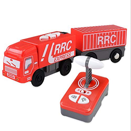 Aiya Remote Control Car RC Cartoon Big Truck Toy mit Licht und Sound für Kids Kleinkinder Transportfahrzeug Set Modell Spielzeug Rot kompatibel mit BRIO Wood Rails - Kragen Remote-hund Ausbildung