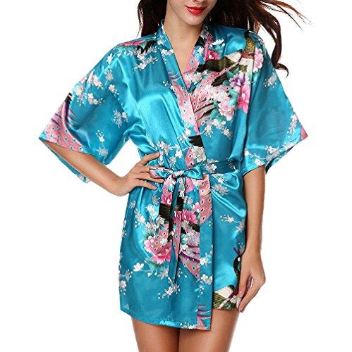 Chengyang donna vestaglie scollo a v kimono corto raso pavone e fiore pigiama camicia da notte (blu, m)
