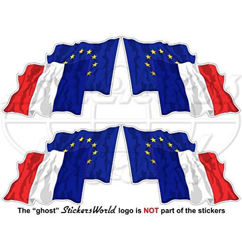 Europäischen union-france Waving Flag Paar, eu-fr europe-french 5,1 cm (50 mm) Vinyl bumper-helmet Sticker, Aufkleber X4 (links-rechts) (French Flag Bumper Sticker)