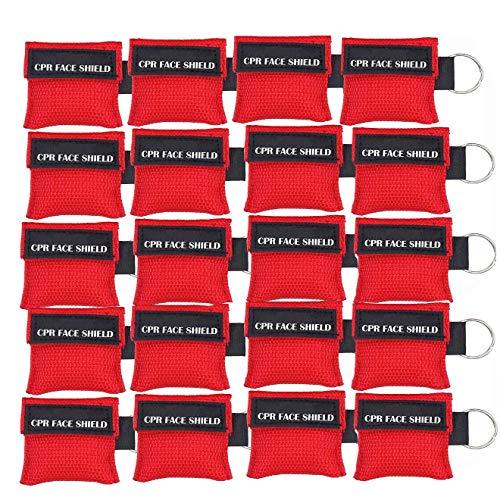 LSIKA-Z Paquete de 20pcs CPR Máscara Llavero Anillo de Emergencia Kit Rescate Face Shields