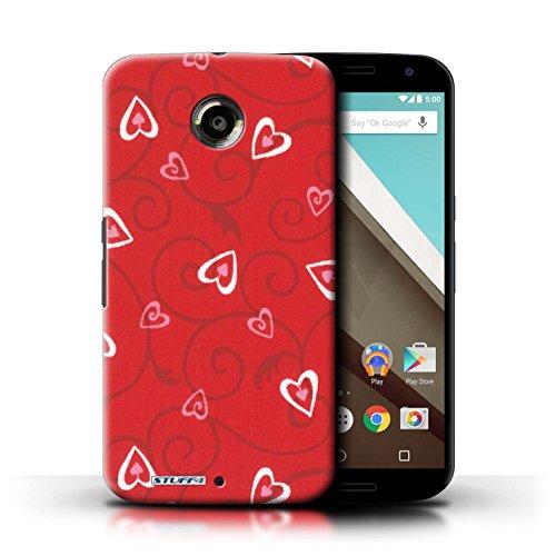 Kobalt® Imprimé Etui / Coque pour Motorola Nexus 6 / Jaune/Vert conception / Série Coeur Vigne Motif Rouge/Rose