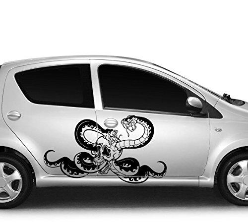 Fuchsia Snake (Autoaufkleber Skull II Schädel Snake - Schlange Fuchsia KLEIN)