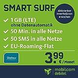 mobilcom-debitel Smart Surf mit 1GB LTE Internet Flat Max. 21 Mbit/s, 50 Frei-Minuten & 50 SMS in Alle Deutschen Netze, EU-Roaming, 24 Monate Laufzeit, monatlich Nur 3,99 EUR, Triple-Sim-Karten
