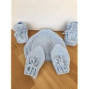 Baby Mütze/Schuhe/Handschuhe Erstausstattung Gr. 0-3 Monaten