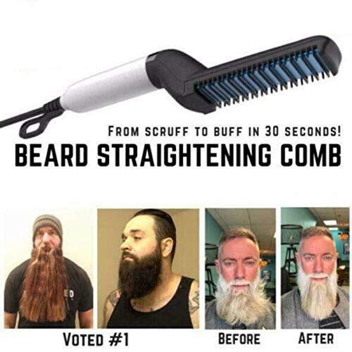 Loopunk - Peine alisador de barba para hombre, profesional, multifuncional, rizador de pelo, plancha de viaje