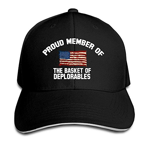 Cap Hat Proud Member of The Basket of Deplorables Adjustable Sandwich Hunting Peak Hat/Cap Black