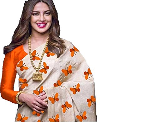 Navabi Export Cotton Silk Saree With Blouse Piece (Orange Titli_Free Size)