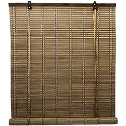 FERIA LIU 6 Modelos 14 Medidas de estores de bambú Cortina de Madera persiana Enrollable (90 x 175 cm, Marrón)