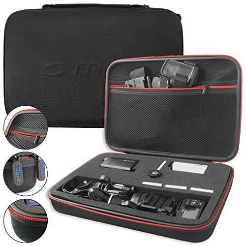 mtb more energy® Schutztasche XXL für 2x Sony FDR-X1000V, X3000R / HDR-AZ1, AS300(R), AS200V, AS100V, AS50 ... - Schwarz - Koffer Case Stecksystem Modular