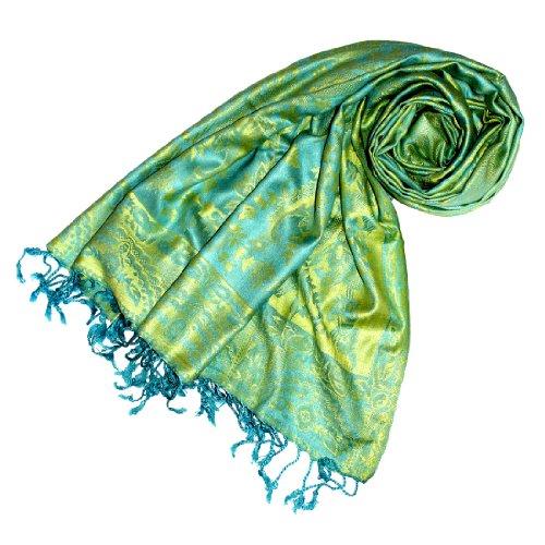 Lorenzo Cana Marken Pashmina Damen Schal Schaltuch Stola Umschlagtuch Naturfaser opulentes Muster in harmonischen Farben mit Fransen 70 x 200 cm