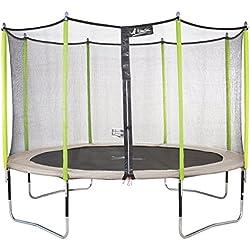 Kangui - Trampoline JUMPI ZEN + filet + échelle PVC + couverture de propreté + kit d'ancrage - Beige et vert - Ø250cm - 300cm - 360cm - 430cm