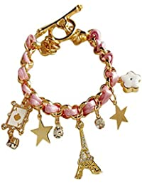 Cinderella Collection By Shining Diva Multicolor Alloy Stone Charm Bracelet for Women