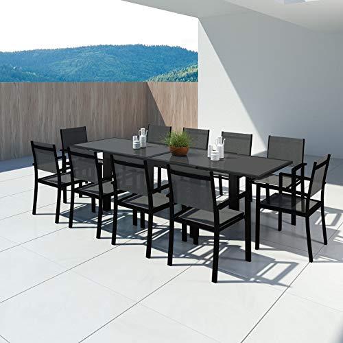 Avril Paris Hara XL - Table de Jardin Extensible Aluminium 140/280cm + 10 fauteuils textilène Noir