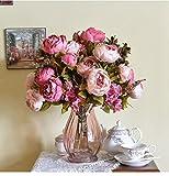 Moonuy 1 Bouquet 8 Têtes Pivoine Romantique Artificielle Fleur de Soie Feuille Maison Mariage Party Decor Fleur Artificielle de Haute qualité de Couleur Rétro européenne de Pivoine de Noyau (Violet)