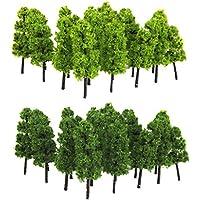 Lot de 20pcs Echelle 1:100 Arbre Miniature pour Modèle Paysage Modélisme Ferroviaire - Vert Clair et Foncé