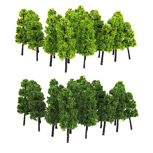 Lot de 20pcs Echelle 1:100 Arbre Miniature pour Modèle Paysage Modélisme Ferroviaire - Vert Clair et Foncé 0645871839658