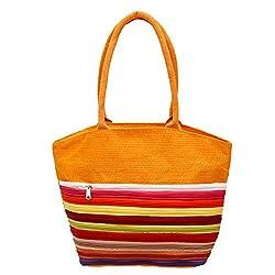Utsav Kraft Ten Zip Orange Designer Jute Bag, Womens Jute Shopping Bag, Grocery bag, Gift bag, Trendy jute bag, print designer jute bag, Lunch bag, Handbag for Ladies Girls, Handbag for women, Jute Crafts