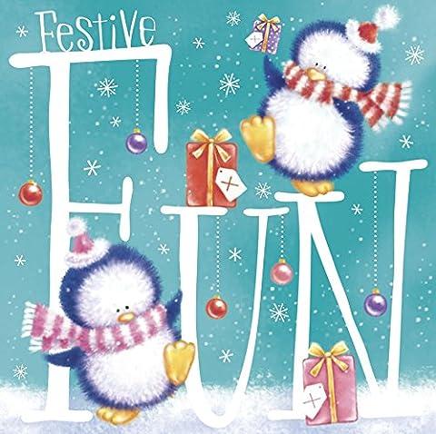 Pack Of 20 Mini Square Charity Christmas Cards - Cute Festive Penguins Snowmen