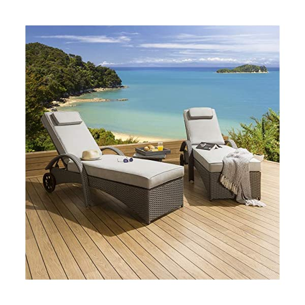 2 x Garden Rattan Sun Lounger Sunbed Set with Table Grey Silver 51OxTkW UCL