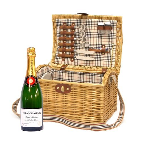 Personalised Premium Champagne 750ml & 2 Person Luxury Highgrove Picnic Basket with Accessories - Gift ideas for Christmas, Wedding, Birthday, Anniversary, Corporate, Business, Valentines, Leaving Gift, Mothers Day, Celebration Gift for Him and Her