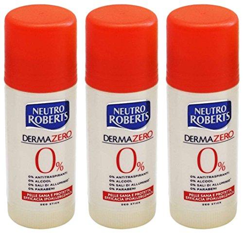 3x Neutro Roberts Dermazero Deodorant Deo Stick Deostick 40 ml hypoallergen -