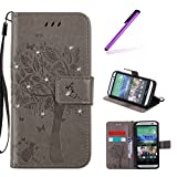 EMAXELERS HTC One M9 Hülle Wishing Tree Muster PU Leder Flip Cover Wallet Case im Handyhülle Ledertasche Tasche mit Standfunktion und Karte Halter für HTC One M9,Gray Wishing Tree with Diamond