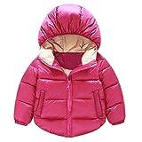 ☻Huhu833 Baby-Kapuzen Mantel, Neugeborene Babyjacken Kinderkleidung Junge Mädchen Oberbekleidung Winter Schneeanzug (Hot pink, 5T-120CM)