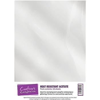 Crafter's Companion - Carta Stampabile di calore resistente-acetato, Bianco, 160 g/mq, 15 Pezzi
