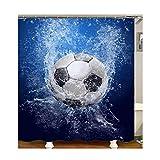 Gnzoe Polyester Badewanne Vorhang Karikatur Fußball Muster Design Duschvorhang Bunt für Badezimmer/Badewanne 165x200CM