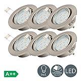 6x3W LED Focos empotrables giratorio IP23 Ø86mm I Luz blanco cálido 3000K 250lm I profundidad 60mm I Metal en color níquel mate I Downlight