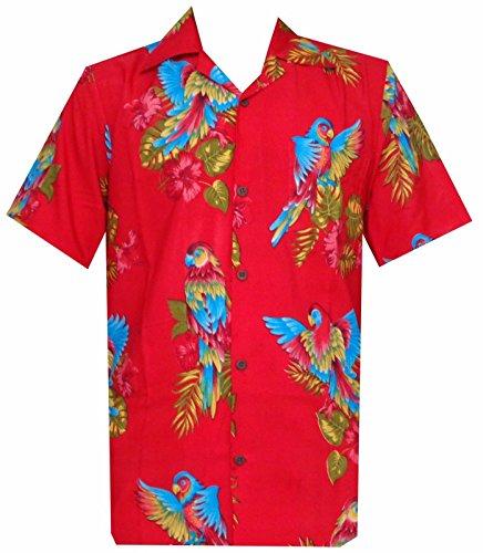 Hawaiihemd mit Papageien-Motiv, bedruckt, Blau, aus Polyester, für Strand, Camping, Party, Aloha-Hemd Gr. M, Pure Red (Hawaii Hemd Neu Herren)