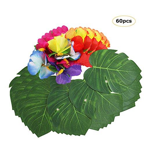 Palm Monstera Blätter 30 Stücke Hibiskusblüten, Simulation Blumen Blatt Tabelle BBQ Hawaiianische Jungle Beach Thema Party Dekorationen Lieferungen ()