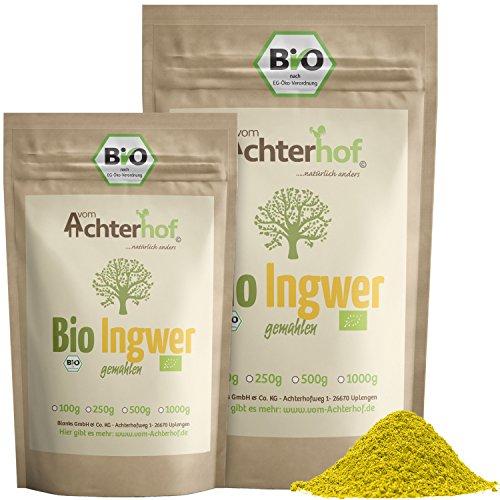 Bio Ingwerpulver (500g) | Ingwer gemahlen | Ingwerwurzel gemahlen perfekt fuer Ingwertee Ingwertinktur Ingwerwasser oder zum Kochen -
