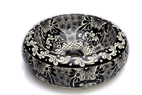 Cerames Serena - Mexikanische Rund Aufsatzwaschbecken schwarz   40 cm Keramik Talavera klein Waschbecken aus Mexiko   Buntes Deko motiven
