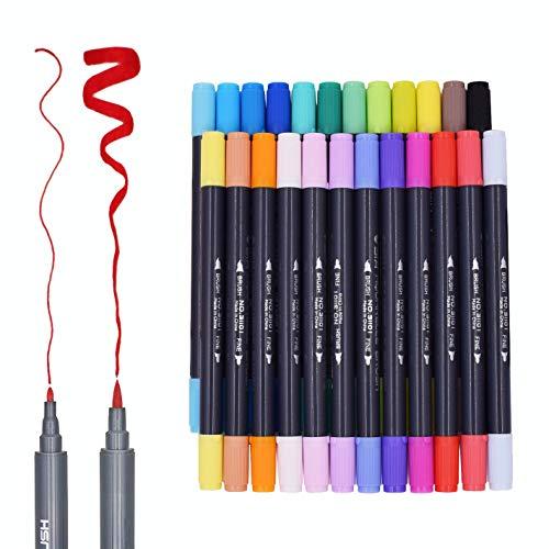 Juego de rotuladores al agua de doble punta duraderos marca Sayeec de 24 colores, con punta pincel suave flexible y punta fina, Ideales para libros para colorear para adultos