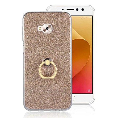 Soft Flexible TPU Back Cover Case Shockproof Schutzhülle mit Bling Glitter Sparkles und Kickstand für Asus ZenFone 4 Selfie Pro ZD552 ( Color : Gold ) Gold