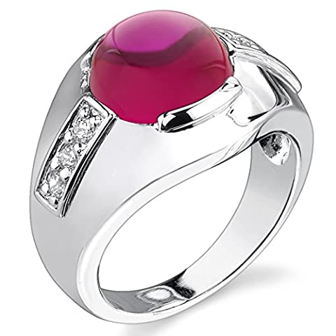 Revoni Mens 7.00 Carats Round Cabochon Ruby Ring in Sterling Silver Rhodium Finish Size Z 1/2,