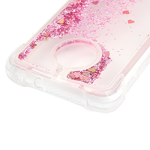 MAXFE.CO Schutzhülle Tasche Case für iPhone X TPU Silikon Cover Einfarbig Etui Protective Schale Bumper Bling Herzen Silber Diamanten Rose Gold