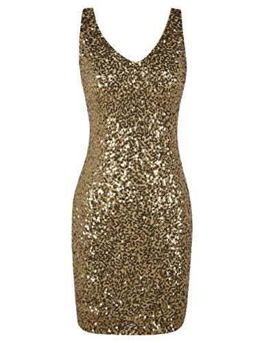 PrettyGuide Damen Pailletten Cocktailkleid V-Ausschnitt Bodycon Funkeln Partykleid Gold L/EU44-46