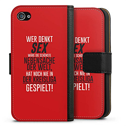 Apple iPhone X Silikon Hülle Case Schutzhülle Kreisliga Sex Fußball Sideflip Tasche schwarz